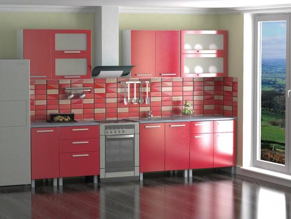 Кухня МДФ Красный металлик