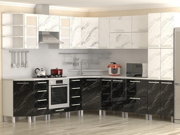 Кухня МДФ Молния черная и белая