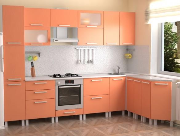 Кухня МДФ Абрикосовый металлик