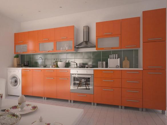 Кухня МДФ Оранжевый металлик