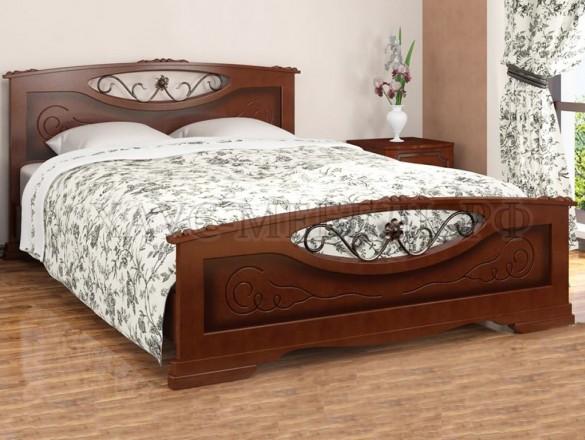 Кровать Елена 5 Орех с элементами художественной ковки