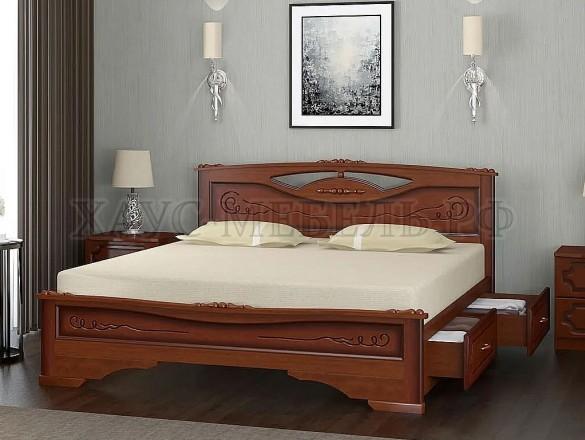 Кровать Елена 3 Орех с ящиками