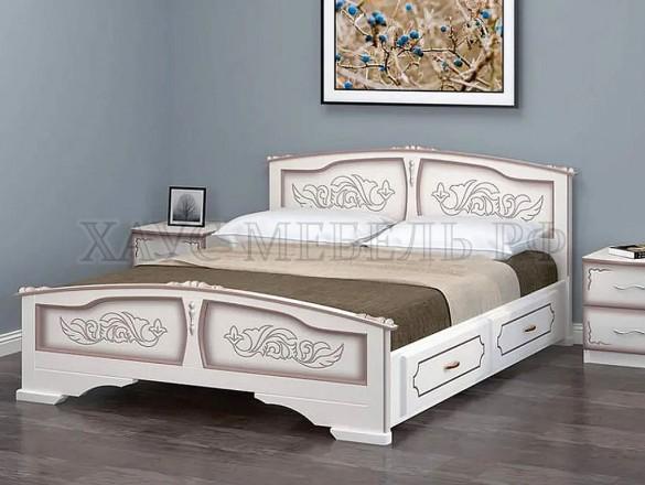 Кровать Елена Дуб молочный с ящиками