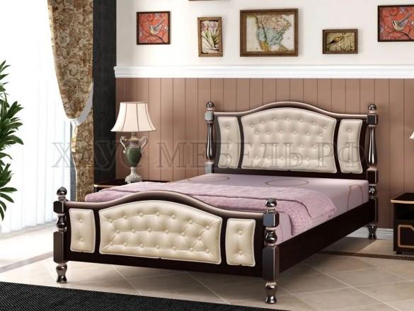 Кровать Жасмин Орех тёмный/светлая экокожа