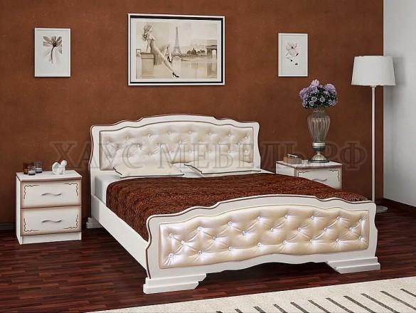 Кровать Карина 10 Дуб молочный/светлая экокожа