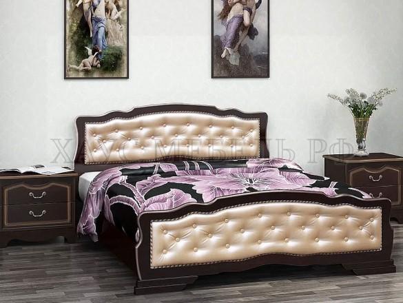 Кровать Карина 10 Орех тёмный/светлая экокожа