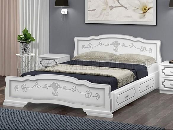 Кровать Карина 6 Белый жемчуг с ящиками