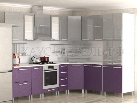 Кухня МДФ Серый металлик/фиолетовый металлик