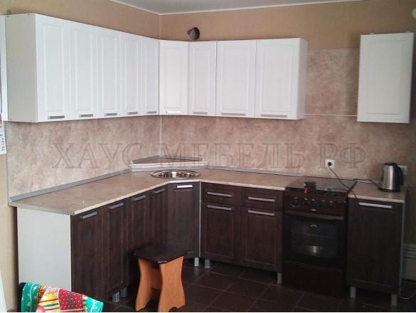 Кухня МДФ Ясень золотой/Тиковое дерево 4900 мм.
