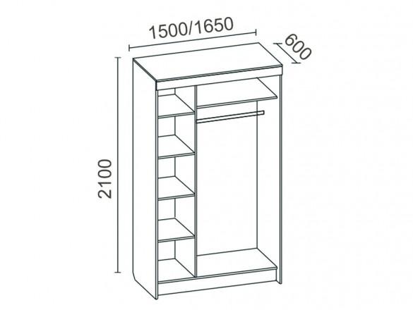 Шкаф-купе 3-створчатый с зеркалом