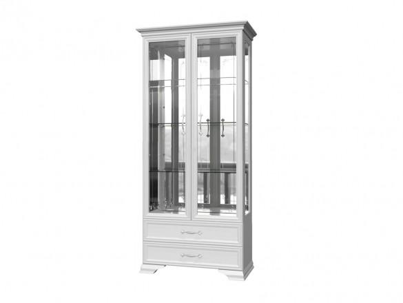 Шкаф-витрина ( 2 двери + 4 стекла ) Грация Лак Белый