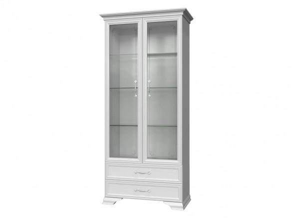 Шкаф-витрина ( 2 двери + 2 стекла ) Грация Лак Белый
