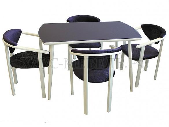 Стол обеденный Стиль 3 Тёмно-синий сатин/белый муар