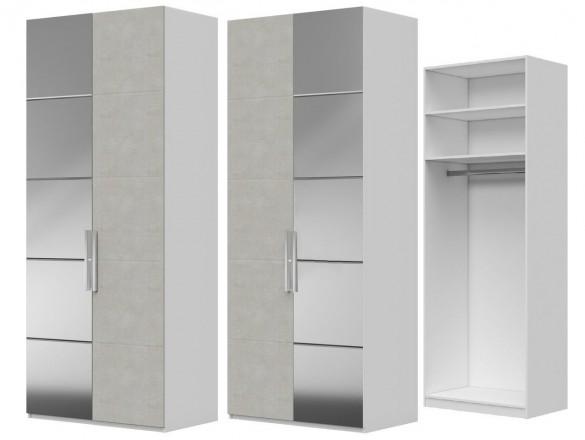 Шкаф ШР-2 ( зеркало + ткань ) Вива Белый глянец/Платина