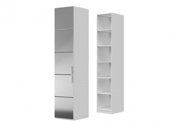 Шкаф ШР-1 ( зеркало + полки ) Вива Белый глянец/Платина