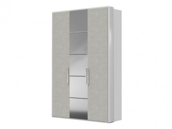 Шкаф ШР-3 ( зеркало + ткань ) Вива Белый глянец